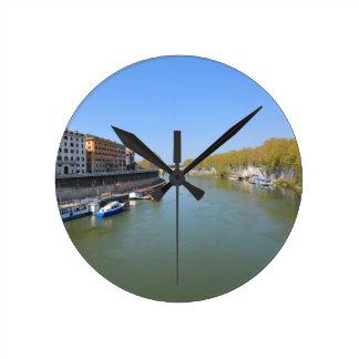 River Tiber in Rome, Italy Round Clock