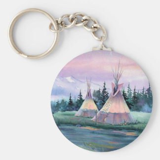 RIVER TIPI CAMP by SHARON SHARPE Keychain