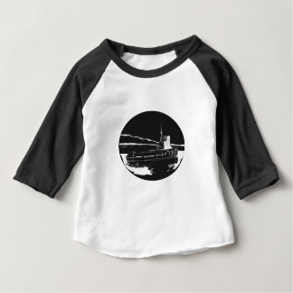 River Tugboat Oval Woodcut Baby T-Shirt