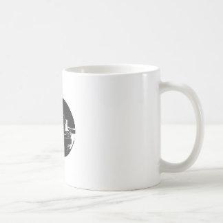 River Tugboat Oval Woodcut Coffee Mug