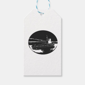 River Tugboat Oval Woodcut Gift Tags