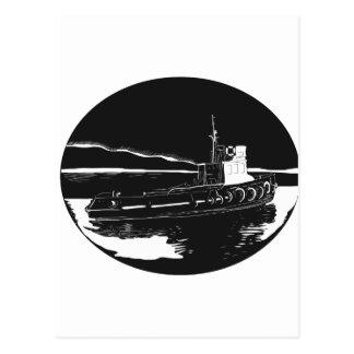 River Tugboat Oval Woodcut Postcard