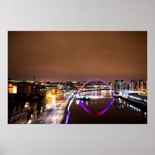 River Tyne at Night Poster