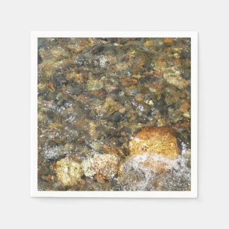 River-Worn Pebbles Brown and Grey Natural Abstract Paper Napkins