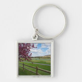 Rivercut In Spring Silver-Colored Square Keychain