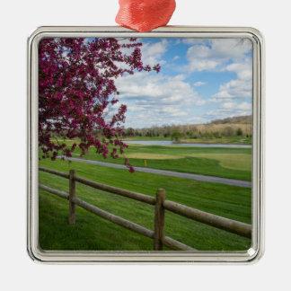 Rivercut In Spring Silver-Colored Square Ornament