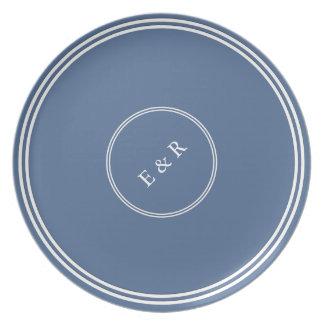 Riverside Blue with White Wedding Detail Dinner Plate