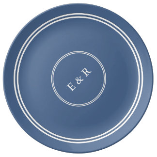 Riverside Blue with White Wedding Detail Porcelain Plate