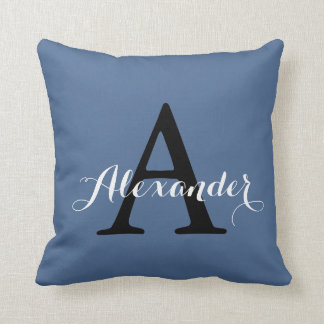 Riverside Rich Blue Solid Color Monogram Baby Boy Throw Pillow