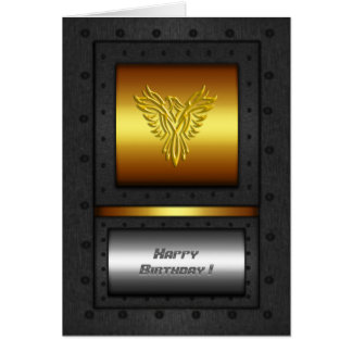 Riveted steel-frame gold and chrome birthday eagle card