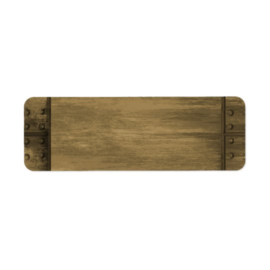 rivetted grungy gold metal plate return address label