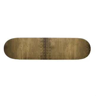 rivetted grungy gold metal plate skate decks
