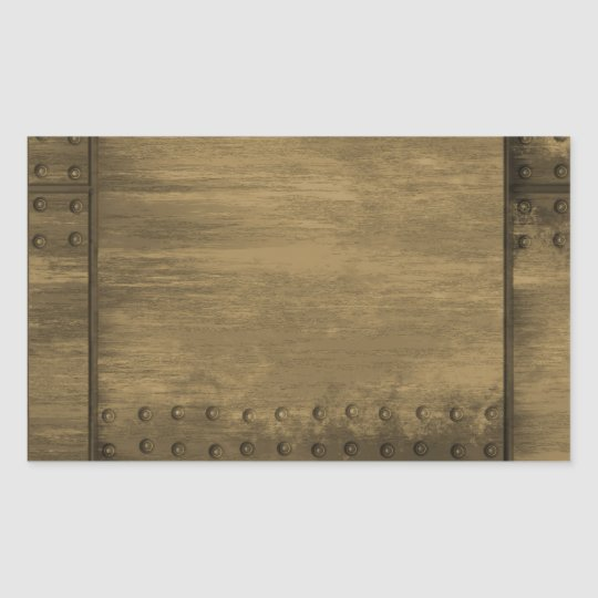 rivetted grungy gold metal plate sticker