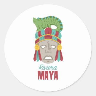 Riviera Maya Mask Classic Round Sticker