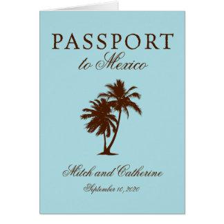 Riviera Maya Mexico Passport   Wedding Card