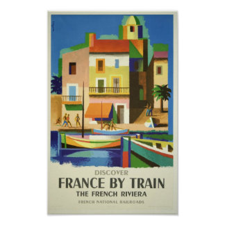 Riviera - Vintage Discover France by Train Poster