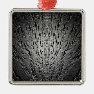 Rivulets on a sandy beach Silver-Colored square ornament