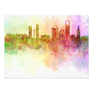 Riyadh skyline in watercolour background art photo