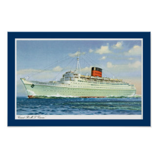 rms Caronia at Sea Poster