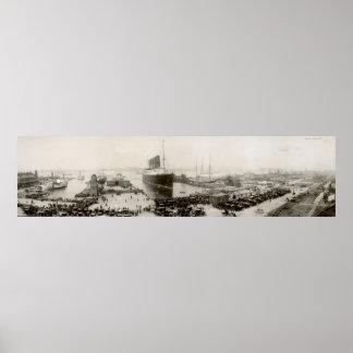 RMS Lusitania Vintage 1907 New York City Poster