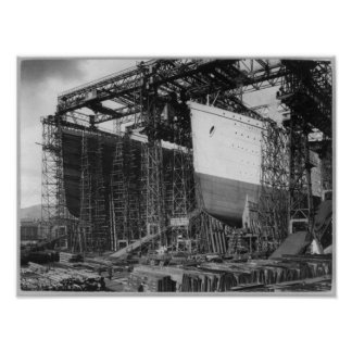 RMS OLYMPIC & TITANIC - Bows - Construction Poster