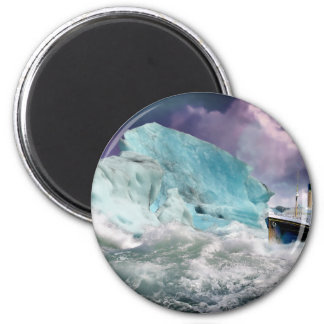 RMS Titanic and Iceberg Painting 2 Inch Round Magnet