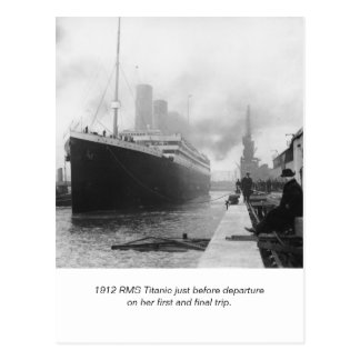 RMS Titanic before departure and poem Postcard