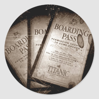 RMS Titanic Boarding Passes Round Sticker