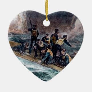 RMS Titanic Crew Escapes Behemoth Sinks Ceramic Heart Ornament