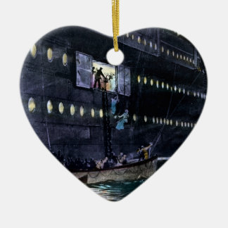 RMS Titanic Escape to the Lifeboats Quickly! Ceramic Heart Ornament