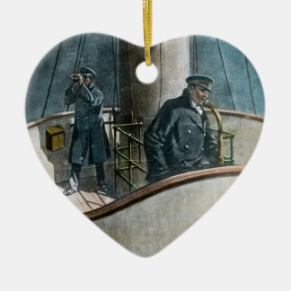 RMS Titanic Iceberg Ahead! Vintage Magic Lantern Ceramic Heart Ornament