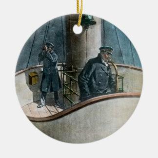 RMS Titanic Iceberg Ahead! Vintage Magic Lantern Round Ceramic Ornament
