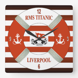 RMS Titanic ~ Liverpool ~ Southampton ~ New York Square Wall Clock
