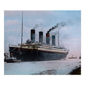 RMS Titanic Maiden Voyage Vintage Hand Colored Poster