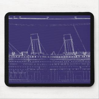 RMS Titanic Original Blueprint, Enhanced for Color Mouse Pad