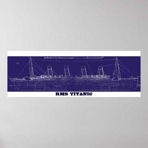 RMS Titanic Original Blueprint, Enhanced for Poster
