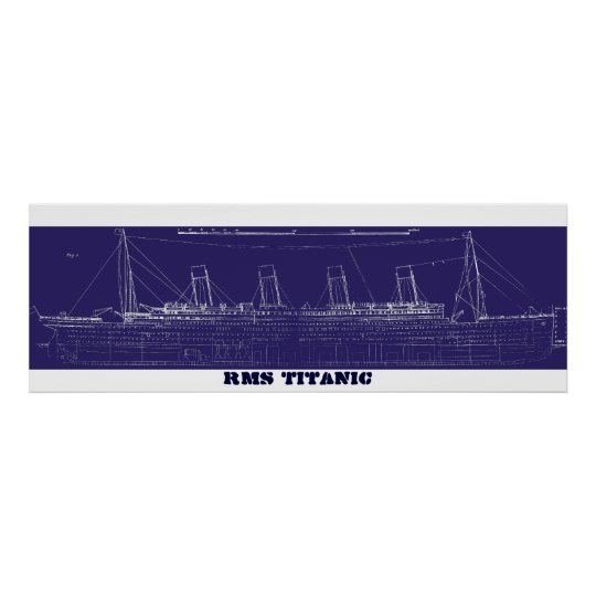RMS Titanic Original Blueprint, Enhanced for Poster