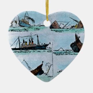 RMS Titanic Sinking Magic Lantern Slide Ceramic Heart Ornament