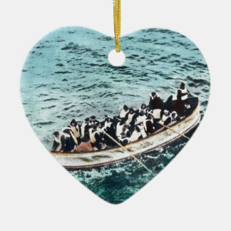 RMS Titanic Survivors in Lifeboats Vintage Ceramic Heart Ornament