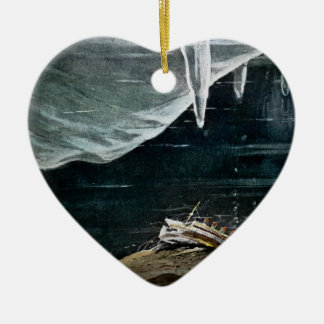 RMS Titanic Under the Sea and Icebergs Vintage Ceramic Heart Ornament