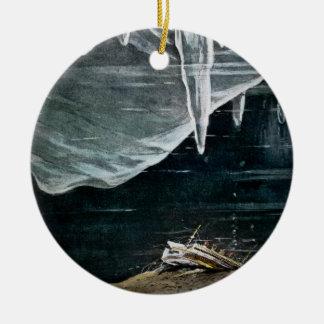 RMS Titanic Under the Sea and Icebergs Vintage Round Ceramic Ornament