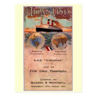 RMS Virginian Steamship Postcard