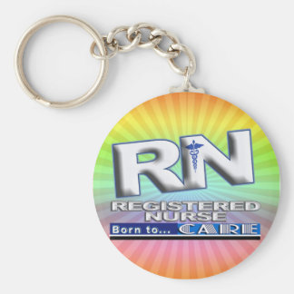 RN - BORN TO CARE MOTTO - REGISTERED NURSE BASIC ROUND BUTTON KEYCHAIN