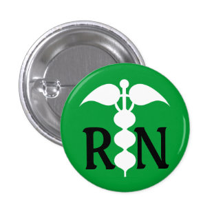 RN Caduceus Medical Icon Stylized 1 Inch Round Button