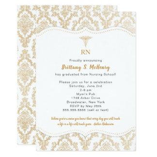 RN Gold Damask Nurse graduation party celebration Card
