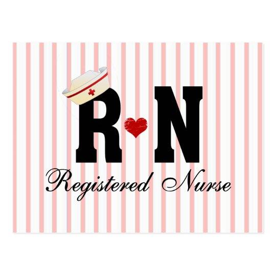 RN Hat and Pink Stripe Background Postcard