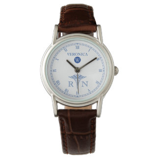 RN Monogram Blue|White Face Nurse Watch