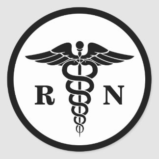 RN Nurse Caduceus Symbol Classic Medical Classic Round Sticker