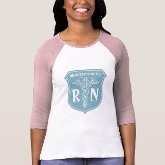 RN nurse t shirt with turquoise caduceus symbol