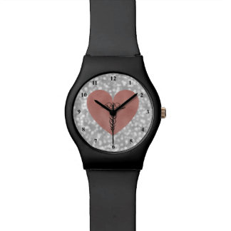 RN Nurse Watch | Caduceus Symbol Rose Gold Heart